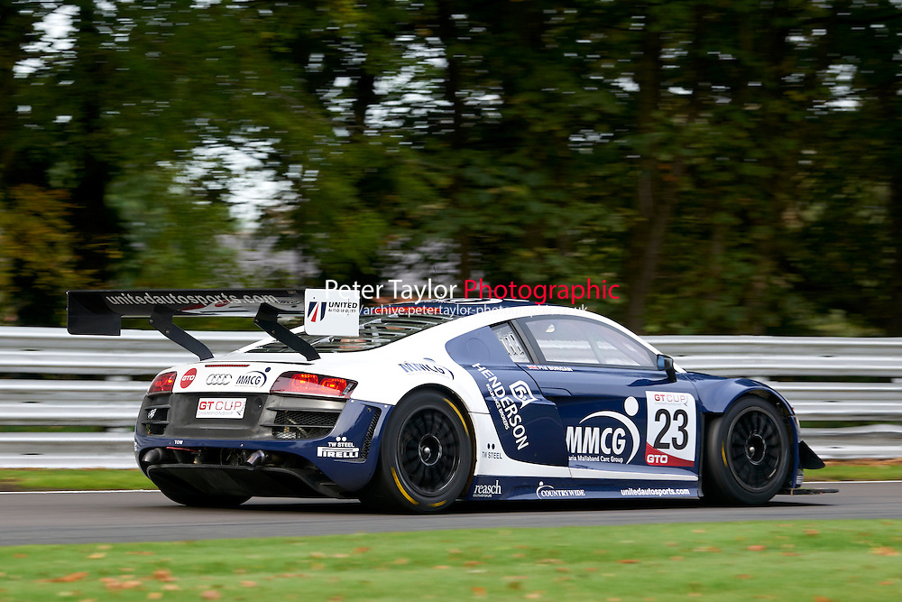 #23 Phil BURGAN Audi R8 LMS Ultra during GT Cup - Qualifying as part of the MSVR Oulton Park 10th October 2015 at Oulton Park, Little Budworth, Cheshire, United Kingdom. October 10 2015. World Copyright Taylor/PSP. Copy of publication required for printed pictures.  Every used picture is fee-liable. http://archive.petertaylor-photographic.co.uk