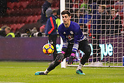 Chelsea goalkeeper Thibaut Courtois (13)  during the Premier League match between Middlesbrough and Chelsea at the Riverside Stadium, Middlesbrough, England on 20 November 2016. Photo by Simon Davies.