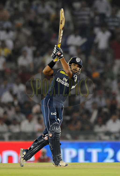 Shikhar Dhawan of Deccan Chargers bats during match 61 of the Indian Premier League ( IPL) 2012  between The Kings X1 Punjab and The Deccan Chargers held at the Punjab Cricket Association Stadium, Mohali on the13th May 2012..Photo by Pal Pillai/IPL/SPORTZPICS