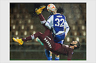 Marcelo Larrondo and Anthony Annan. HJK wins Torino FC 2-1 in Europa League. Helsinki, November 6, 2014.
