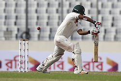 August 28, 2017 - Mirpur, Bangladesh - Bangladesh's Tamim Iqbal plays a shot  during day two of the First Test match between Bangladesh and Australia at Shere Bangla National Stadium on August 28, 2017 in Mirpur, Bangladesh. (Credit Image: © Ahmed Salahuddin/NurPhoto via ZUMA Press)