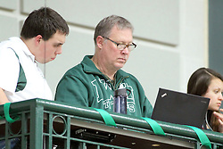 21 February 2015:  Sports Information Director Stew Salowitz (center) during an NCAA women's division 3 CCIW basketball game between the Elmhurst Bluejays and the Illinois Wesleyan Titans in Shirk Center, Bloomington IL