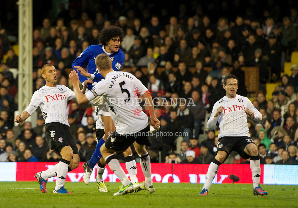 LONDON, ENGLAND - Saturday, November 3, 2012: Everton's Marouane Fellaini scores the second goal against Fulham during the Premiership match at Craven Cottage. (Pic by David Rawcliffe/Propaganda)