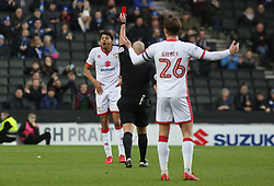 Ousseynou Cisse of Milton Keynes Dons cant believe he has been shown a straight red card by match referee Charles Breakspear - Mandatory by-line: Joe Dent/JMP - 30/12/2017 - FOOTBALL - Stadium MK - Milton Keynes, England - Milton Keynes Dons v Peterborough United - Sky Bet League One