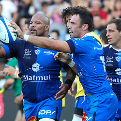 Thomas Combezou and Jody Jenneker of Castres during Top 14 match between Castres and Lyon Lou on September 1, 2018 in Castres, France. (Photo by Laurent Frezouls/Icon Sport)