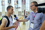 Marcin Baumgart SO Poland basketball player while interview during second day of the Special Olympics World Games Los Angeles 2015 on July 26, 2015 on Galen Center at University of Southern California in Los Angeles, USA.<br /> USA, Los Angeles, July 26, 2015<br /> <br /> Picture also available in RAW (NEF) or TIFF format on special request.<br /> <br /> For editorial use only. Any commercial or promotional use requires permission.<br /> <br /> Adam Nurkiewicz declares that he has no rights to the image of people at the photographs of his authorship.<br /> <br /> Mandatory credit:<br /> Photo by © Adam Nurkiewicz / Mediasport