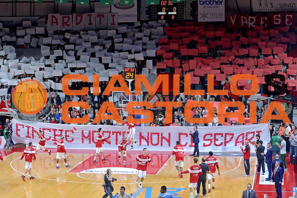 DESCRIZIONE : Varese Lega A 2014-15 Openjobmetis Varese vs Acqua Vitasnella Cant&ugrave;<br /> GIOCATORE : Team Openjobmetis Varese<br /> CATEGORIA : PreGame Inno Nazionle<br /> SQUADRA : Openjobmetis Varese<br /> EVENTO : Campionato Lega A 2014-2015<br /> GARA : Openjobmetis Varese vs Acqua Vitasnella Cant&ugrave;<br /> DATA : 12/10/2014<br /> SPORT : Pallacanestro <br /> AUTORE : Agenzia Ciamillo-Castoria/I.Mancini<br /> Galleria : Lega Basket A 2014-2015  <br /> Fotonotizia : Varese Lega A 2014-2015 Pallacanestro Openjobmetis Varese vs Acqua Vitasnella Cant&ugrave;<br /> Predefinita :