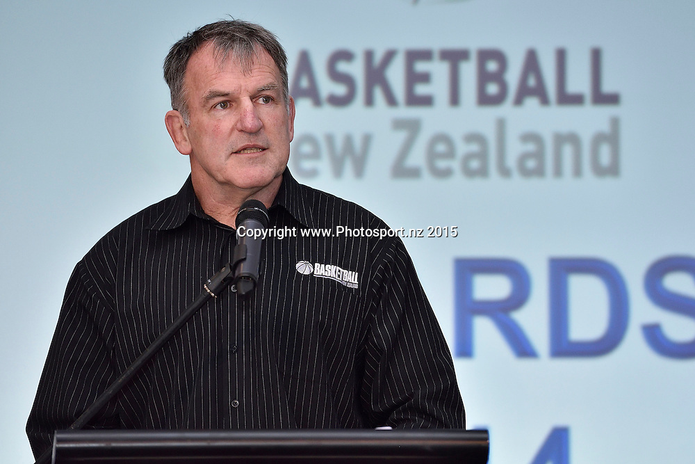 Iain Potter CE of Basketball NZ speaks during the BBNZ awards night Shed 6 in Wellington on Sunday the 5th of July 2015. Copyright photo by Marty Melville / www.Photosport.nz