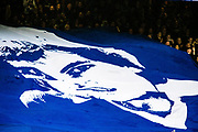 Chelsea fans with Ray Wilkins flag  during the Premier League match between Chelsea and West Ham United at Stamford Bridge, London, England on 8 April 2018. Picture by Sebastian Frej.