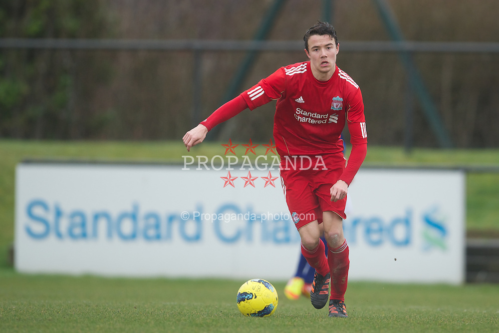 KIRKBY, ENGLAND - Friday, February 24, 2012: Liverpool's Jordan Lussey in action against Everton during the FA Premier League Academy match at the Kirkby Academy. (Pic by David Rawcliffe/Propaganda)