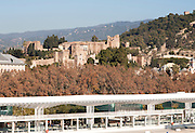 View of City and port to Alcazaba castle, Malaga, Spain