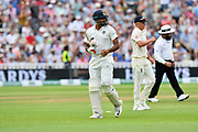 Wicket - Ravichandran Ashwin of India walks back to the pavilion after being dismissed by James Anderson of England during second day of the Specsavers International Test Match 2018 match between England and India at Edgbaston, Birmingham, United Kingdom on 2 August 2018. Picture by Graham Hunt.