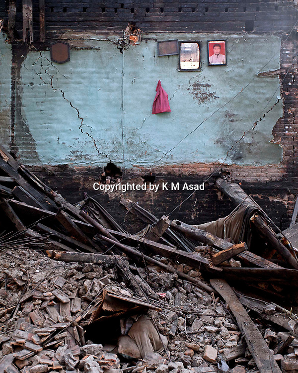 """May 3, 2015 - Kathmandu, Nepal-An empty house damage after following massive earthquake magnitude-7.8 hit the country on 25 April 2015 in near bhaktapur area Kathmandu, Nepal. School of Civil and Environmental Engineering Associate Professor Linlin Ge said the displacement was less than expected, prompting fears the stress that caused the initial earthquake may not have been fully released. """"It should be roughly several meters,"""" he said. There are a lot of concerns about what is to come in terms of aftershocks, because the ground displacement is much less than we expected. The official death toll in Nepal has reached 9,231 people including 57 foreigners, with 112 foreigners still listed. Another 10,915 people were injured and 454,769 have been internally displaced."""