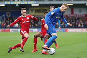 AFC Wimbledon striker Joe Pigott (39) dribbling during the EFL Sky Bet League 1 match between AFC Wimbledon and Accrington Stanley at the Cherry Red Records Stadium, Kingston, England on 6 April 2019.