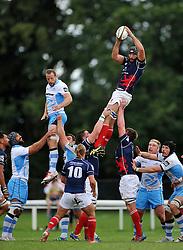 Adam Preocanin (London Scottish) rises high to win lineout ball - Photo mandatory by-line: Patrick Khachfe/JMP - Mobile: 07966 386802 30/08/2014 - SPORT - RUGBY UNION - London - Richmond Athletic Ground - London Scottish v Glasgow Warriors - Pre-Season Friendly