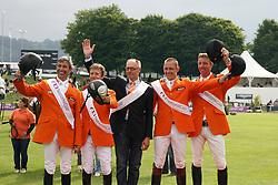 Team Netherlands: Van Der Vleuten Eric (NED), Van Der Vleuten Maikel (NED), Raymakers Piet Jr (NED), Vrieling Jur (NED), Ehrens Rob (NED) chef d'equipe<br /> FEI Nations Cup Sankt Gallen 2011<br /> © Hippo Foto - Beatrice Scudo