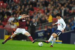 DECLAN RICE WEST HAM STOPS TOTTENHAMS HEUNG MIN SON,   Tottenham Hotspur  v West Ham United, EFL  Carabao Cup Fourth Round, Wembley Stadium Wednesday 25th October 2017, Score 2-3 <br /> Photo:Mike Capps
