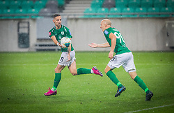 90# Tomic Tomislav and 8# Cekici Endri of NK Olimpija during the match of 7. Round of Slovenian National first league between NK Olimpija Ljubljana and NK Mura on 24.8.2019 in Stadion Stozice, Ljubljana, Slovenia. Photo by Urban Meglič / Sportida