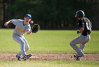 Gilford's Cam Haradon attempts to make the play at second with Prospect Mountain's Hunter Sanborn during NHIAA Division III baseball Friday afternoon.   (Karen Bobotas/for the Laconia Daily Sun)