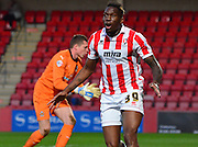 Mathieu Manset sees his goal ruled out for offside during the Sky Bet League 2 match between Cheltenham Town and Cambridge United at Whaddon Road, Cheltenham, England on 14 April 2015. Photo by Alan Franklin.