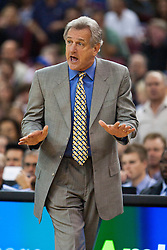 November 1, 2010; Sacramento, CA, USA;  Sacramento Kings head coach Paul Westphal argues a call on the sidelines during the second quarter against the Toronto Raptors at the ARCO Arena.