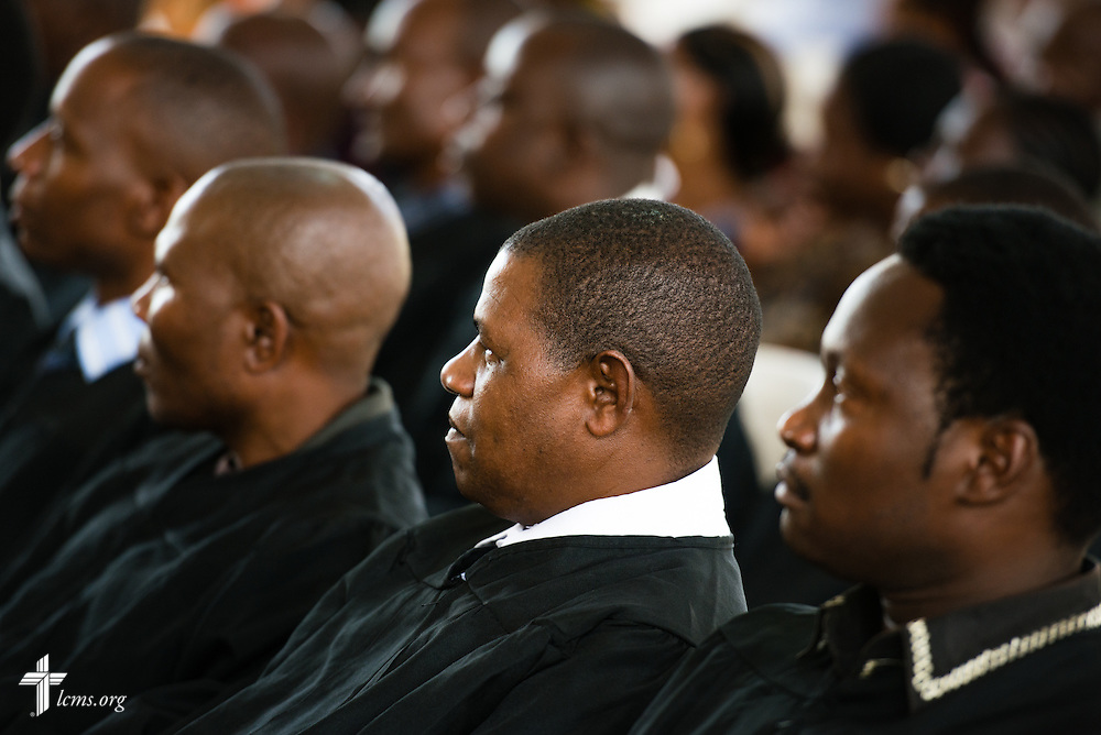 Graduating pastoral students listen during the ceremony on Saturday, March 14, 2015, at the Evangelical Lutheran Church in Tanzania – South-East of Lake Victoria Diocese's (ELCT-SELVD) Ebenezer Cathedral in Shinyanga, Tanzania.  LCMS Communications/Erik M. Lunsford