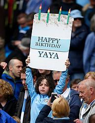 A young Manchester City fan holds up a sign wishing Yaya Toure a Happy Birthday - Mandatory by-line: Matt McNulty/JMP - 13/05/2017 - FOOTBALL - Etihad Stadium - Manchester, England - Manchester City v Leicester City - Premier League