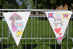 © Licensed to London News Pictures. 18/05/2018. London, UK. Hand-drawn bunting lines the Long Walk in Windsor ahead of the Royal Wedding. Prince Harry and Meghan Markle are to be married in Windsor tomorrow, Saturday 19 May 2018. Photo credit: Rob Pinney/LNP