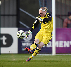 Hedvig Lindahl of Chelsea Ladies in action during the FA Women's Super League match between Bristol Academy Women and Chelsea Ladies at Stoke Gifford Stadium on 2 April 2015 in Bristol, England - Photo mandatory by-line: Paul Knight/JMP - Mobile: 07966 386802 - 02/04/2015 - SPORT - Football - Bristol - Stoke Gifford Stadium - Bristol Academy Women v Chelsea Ladies - FA Women's Super League