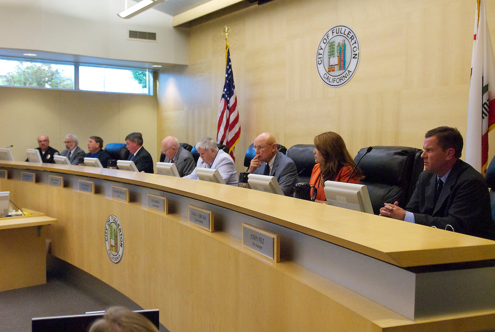 A Fullerton City Council Meeting where public comments dominated the session.  Discussed was the death of Kelly Thomas, a mentally ill homeless man that died after an altercation with Fullerton Police. During the months since, two FPD officers have been charged with 2nd dgree murder and involuntary manslaughter and ar ecall campaign has begun agains three seated council members.