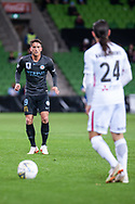 Melbourne City midfielder Lachlan Wales (19) watches on as Western Sydney Wanderers defender Raul Llorente (24) goes for a free kick at the FFA Cup quarter-final soccer match between Melbourne City FC and Western Sydney Wanderers FC at AAMI Park in Melbourne.