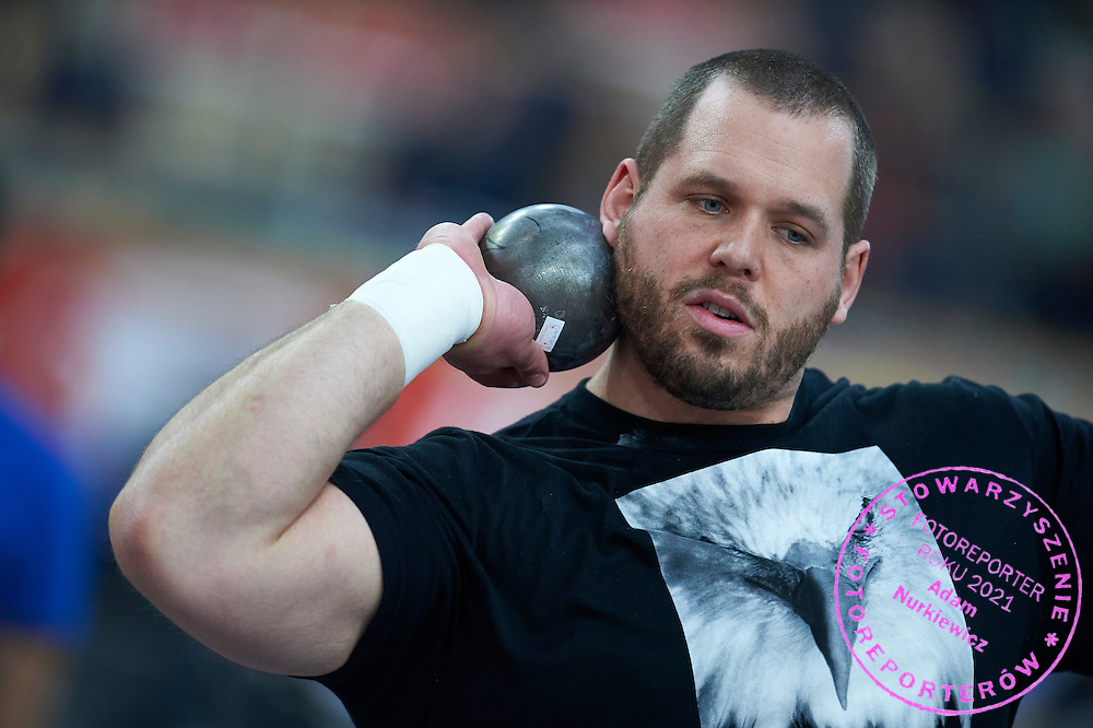 Ryan Whiting from USA competes in men's shot put competition during athletics meeting Pedro's Cup at Atlas Arena in Lodz, Poland.<br /> <br /> Poland, Lodz, February 17, 2015<br /> <br /> Picture also available in RAW (NEF) or TIFF format on special request.<br /> <br /> For editorial use only. Any commercial or promotional use requires permission.<br /> <br /> Adam Nurkiewicz declares that he has no rights to the image of people at the photographs of his authorship.<br /> <br /> Mandatory credit:<br /> Photo by &copy; Adam Nurkiewicz / Mediasport