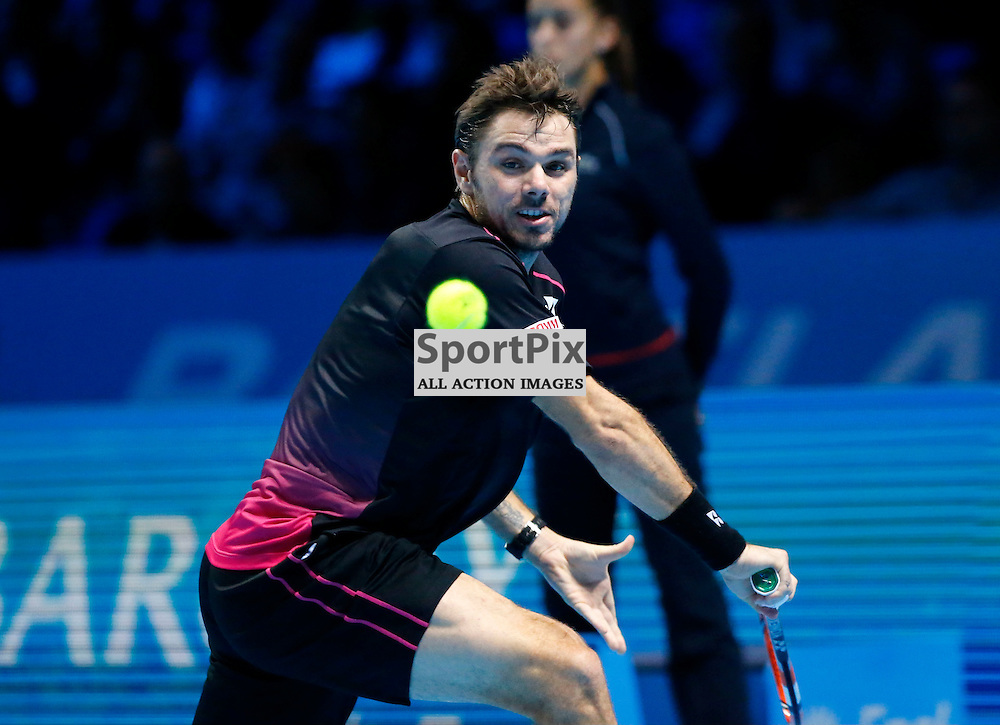 Stanislas Wawrinka focused on making th ereturn. ATP Finals 2015 at O2 Arena, London. Stanislas Wawrinka plays Rafael Nadal in their first match in the Group Ilie Nastase. 16th November 2015. (c) Matt Bristow | SportPix.org.uk
