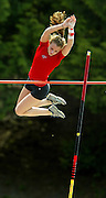 "05/14/2009 - Lincoln's Lillian Pagenstecher (517)  clears the pole at 10'6"" to win the women's Pole vault. The 6A PIL Varsity District Track Meet takes place at Lewis and Clark College....KEYWORDS:  City, Portland, sports, high school, state, boys, girls"
