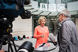 © Licensed to London News Pictures. 23/07/2017. LONDON, UK.  ANNA SOUBURY speaks to reporters as she leaves BBC Broadcasting House after appearing on the Andrew Marr Show.  Photo credit: Vickie Flores/LNP