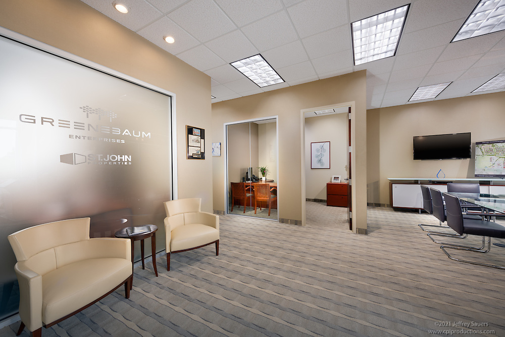 Office interior image of St. John Properties in Maple Lawn Corporate Center in Marylad by Jeffrey Sauers of Commercial Photographics, Architectural Photo Artistry in Washington DC, Virginia to Florida and PA to New England