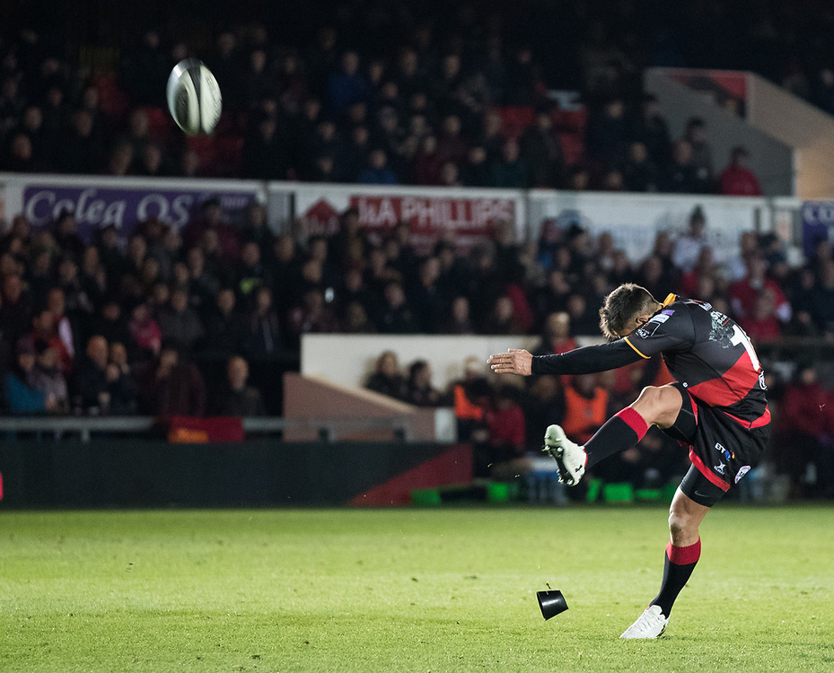 Dragons' Gavin Henson kicks a penalty <br /> <br /> Photographer Simon King/Replay Images<br /> <br /> Guinness Pro14 Round 10 - Dragons v Ulster - Friday 1st December 2017 - Rodney Parade - Newport<br /> <br /> World Copyright © 2017 Replay Images. All rights reserved. info@replayimages.co.uk - www.replayimages.co.uk