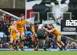 Jordan Taufua of Leicester Tigers cant get past Tommy Taylor and Kieran Brookes of Wasps - Mandatory by-line: Arron Gent/JMP - 15/02/2020 - RUGBY - Welford Road Stadium - Leicester, England - Leicester Tigers v Wasps - Gallagher Premiership Rugby