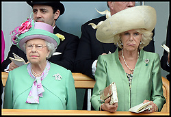 HM The Queen with The Duchess of Cornwall  look at horses in the parade ring from the royal box at Royal Ascot 2013<br /> Ascot, United Kingdom<br /> Wednesday, 19th June 2013<br /> Picture by Andrew Parsons / i-Images