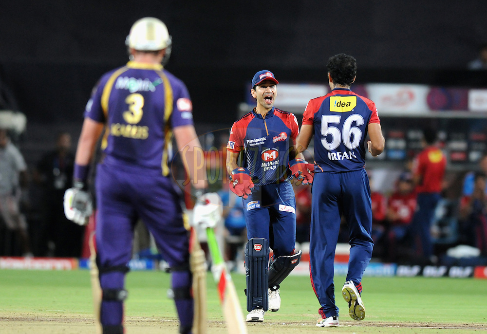 Naman Ojha of Delhi Daredevils celebrates the wicket of Shakib Al Hasan of Kolkatta Knight Riders during the first Qualifying match of the Indian Premier League ( IPL) 2012  between The Delhi Daredevils and The Kolkata Knight Riders held at the Subrata Roy Sahara Stadium, Pune on the 22nd May 2012..Photo by Pal Pillai/IPL/SPORTZPICS