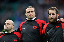 Max Montgomery of Cambridge University looks on prior to the match with team-mates Don Stevens and Rob Hall - Mandatory byline: Patrick Khachfe/JMP - 07966 386802 - 10/12/2015 - RUGBY UNION - Twickenham Stadium - London, England - Oxford University v Cambridge University - The Varsity Match.