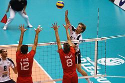 01-09-2012 VOLLEYBAL: WORLD LEAGUE 2013 QUALIFICATION NETHERLANDS - PORTUGAL : ROTTERDAM<br /> Jelte Maan of The Netherlands attacks