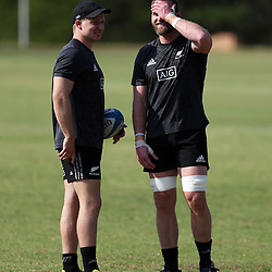PRETORIA, SOUTH AFRICA - OCTOBER 05: Jack Goodhue with Kieran Read (captain) of the New Zealand (All Blacks) during the Rugby Championship New Zealand All Blacks captain's run at St David's Marist Inanda 36 Rivonia Rd, Sandown, Sandton,on October 5, 2018 in Pretoria, South Africa. (Photo by Steve Haag/Getty Images)