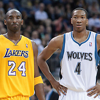 04 October 2010: Los Angeles Lakers guard Kobe Bryant #24 is seen next to Minnesota Timberwolves forward Wesley Johnson #4 during the Minnesota Timberwolves 111-92 victory over the Los Angeles Lakers, during 2010 NBA Europe Live, at the O2 Arena in London, England.