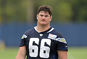 Jun 13, 2019; Costa Mesa, CA, USA:  Los Angeles Chargers center Dan Feeney (66)  during minicamp at the Hoag Performance Center.