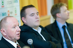 Dusan Sesok, Matej Avanzo and Luka Sefic at press conference when announced that Zdovc is a new Slovenian Head coach of Basketball National team, on November 25, 2008 in City Hotel, Ljubljana, Slovenia.  (Photo by Vid Ponikvar / Sportida).
