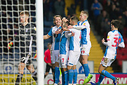 Blackburn Rovers forward Adam Armstrong celebrates his goal with team-mates  during the EFL Sky Bet Championship match between Blackburn Rovers and Birmingham City at Ewood Park, Blackburn, England on 26 December 2019.