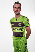 Forest Green Rovers Christian Doidge(9) wearing the new kit for the 2018/19 season during the 2018/19 official team photocall for Forest Green Rovers at the New Lawn, Forest Green, United Kingdom on 30 July 2018. Picture by Shane Healey.