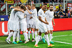 28-05-2016 ITA, UEFA CL Final, Atletico Madrid - Real Madrid, Milaan<br /> Casemiro of Real Madrid and other players celebrate after Sergio Ramos of Real Madrid scored first goal for Real <br /> <br /> ***NETHERLANDS ONLY***