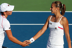 Marina Erakovic of New Zeland and Polona Hercog of Slovenia in Doubles at 3rd Round of Banka Koper Slovenia Open 2008, on July 23, 2008, Portoroz - Portorose, Slovenia. (Photo by Vid Ponikvar / Sportal Images)...